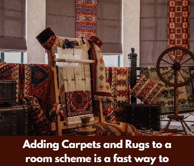 Adding Carpets and Rugs to a room scheme is a fast way to liven it up