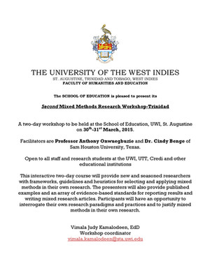 Mixed Methods Workshop Trinidad - March 2015