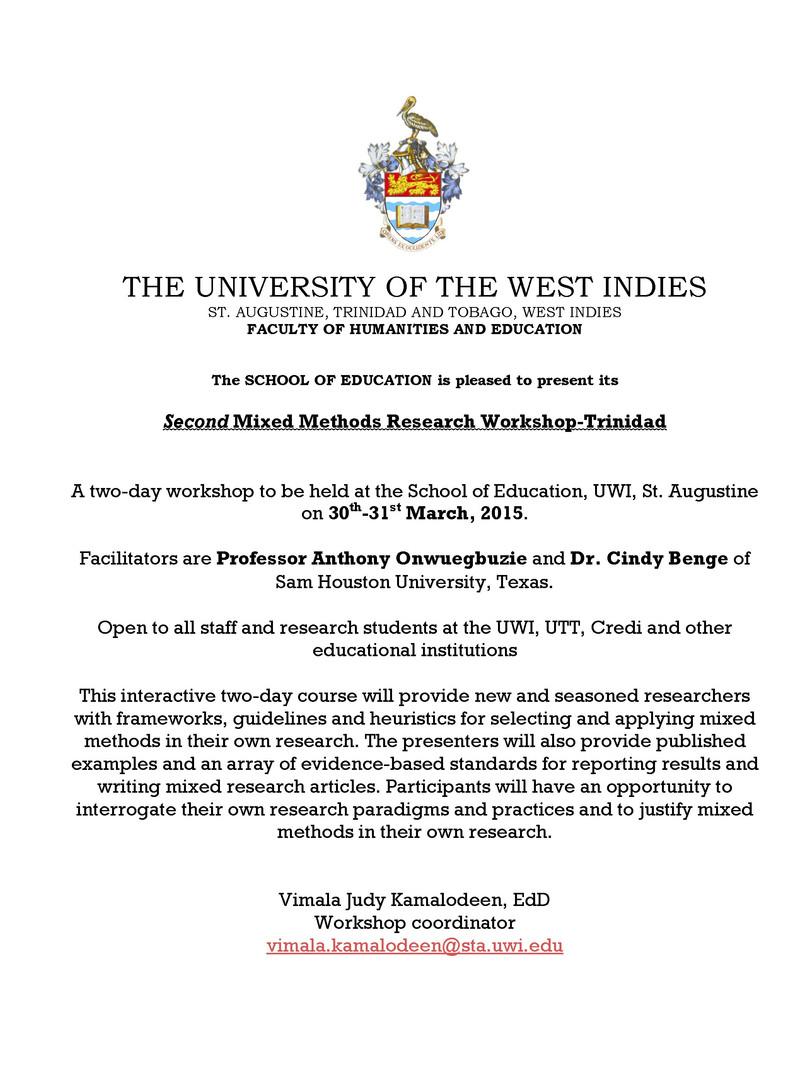 Mixed Methods Workshop Trinidad - March 2015