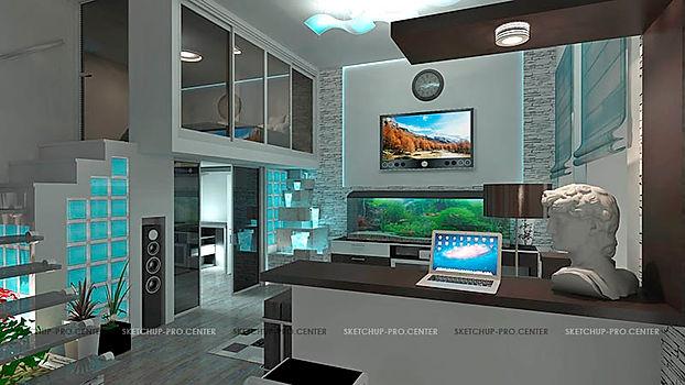 Визуализация интерьера квартиры в Москве, на Старом Арбате, моделирование в Скетчап