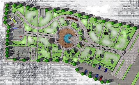 Генплан участка парка с зонированием. Чертёж в Скетчап графические стили