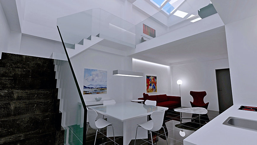 Дизайн интерьера квартиры в SketchUp визуализация V-ray