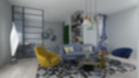 Пространственное дизайнерское решение пространства гостиной в стиле Контемпорари