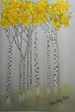 Golden Leaved Birches - Pen and Ink Watercolor
