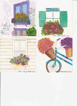 Flower Boxes and Baskets - Watercolor