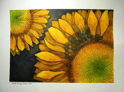 Honeybee on Sunflower - Wood Burned Watercolor
