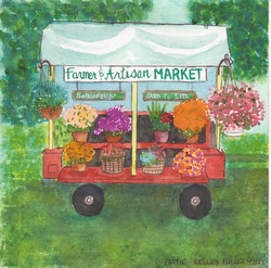 Farmer and Artisan Market Cart - Pen and Ink Watercolor