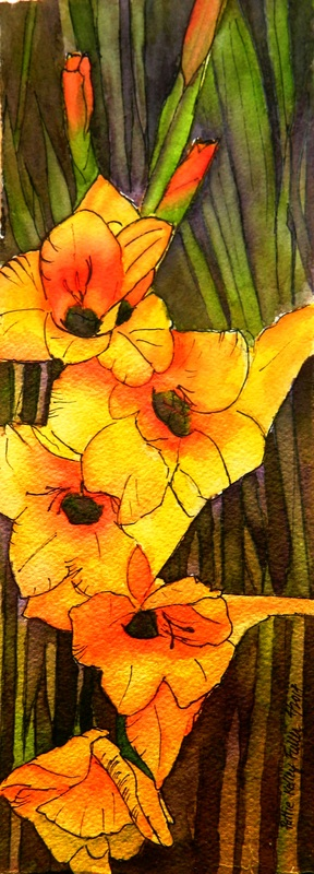 Bold Gladiolas - Pen and Ink Watercolor