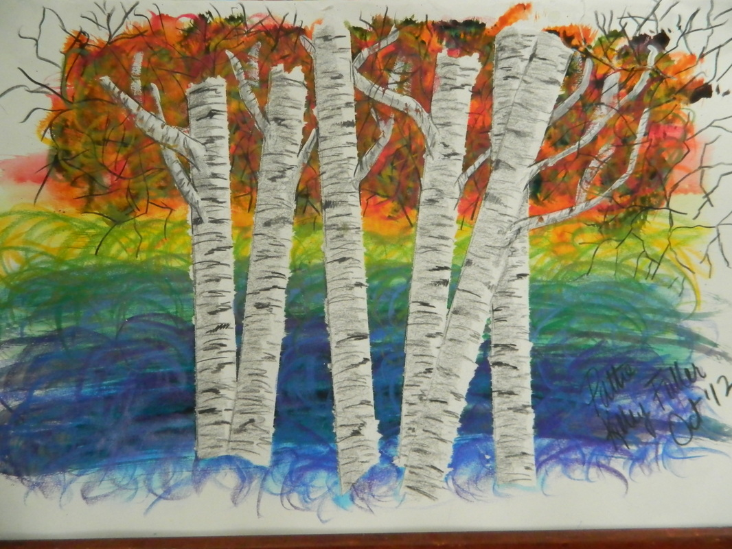 Colorful Birches - Mixed Media