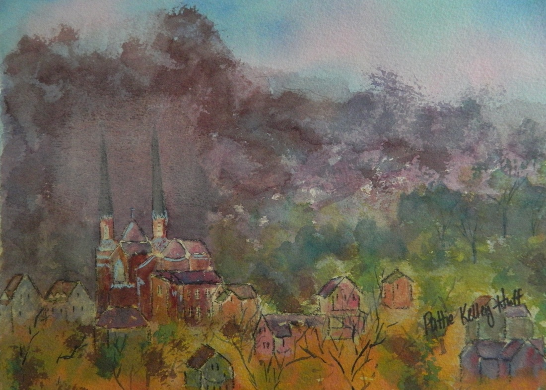 Saint Joe's from Grove Hill Cemetery - Watercolor