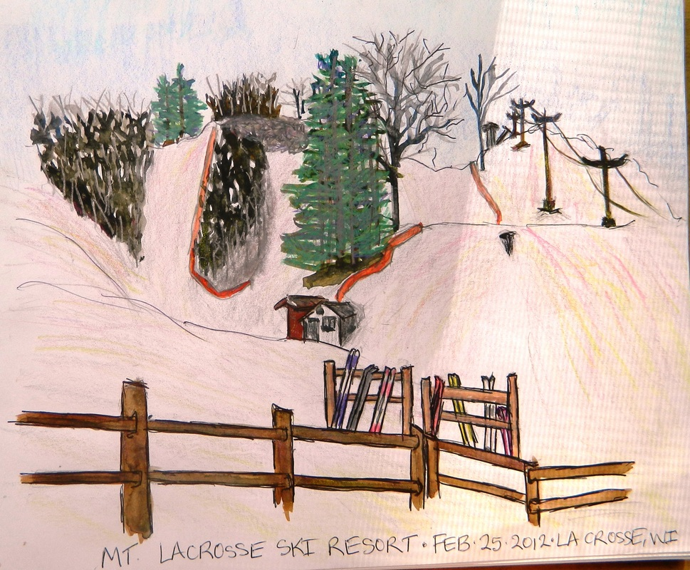 Mt. La Crosse Ski Hill - Pen and Ink Watercolor