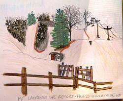 Mt. La Crosse Ski Hill - Pen and Ink Watercolor