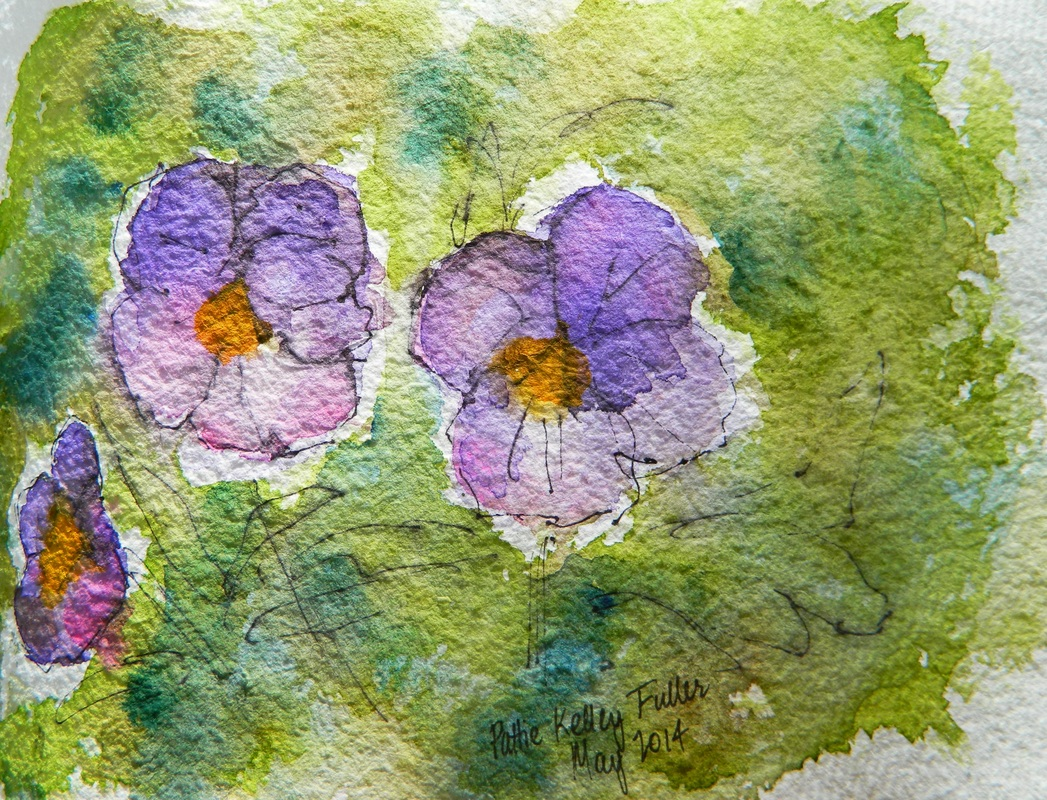 Morning Glories - Pen and Ink Watercolor