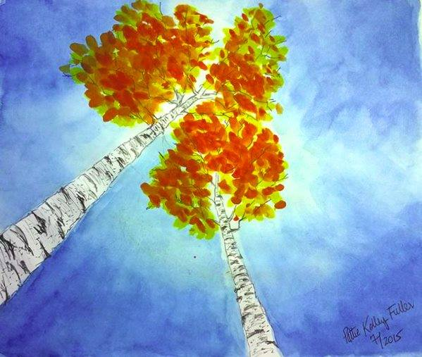 birch trees perspective