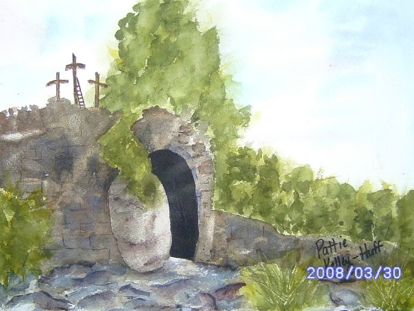 Easter Morning Empty Grave - Watercolor
