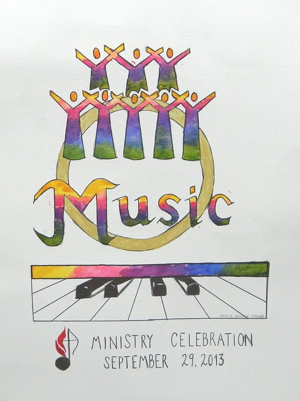 Music Ministry Celebration (For Display only - No sale) - Pen and Ink Watercolor