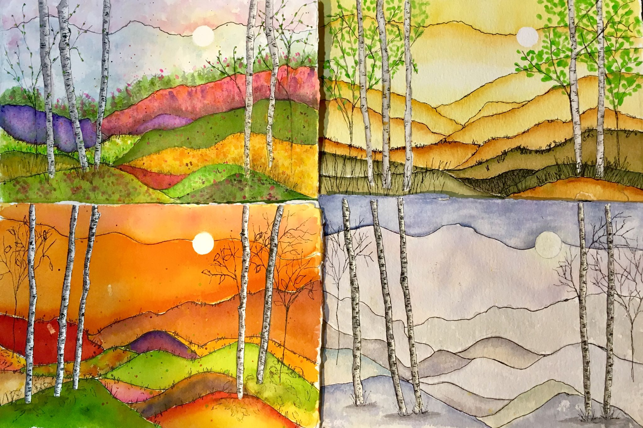 Four seasons - watercolor