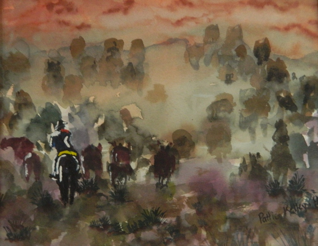 Cattle Drive - Watercolor