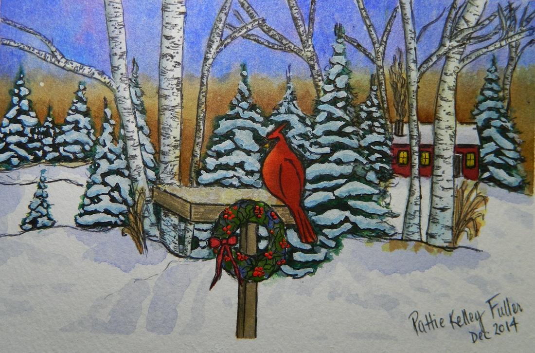 cardinal on wreath in winter