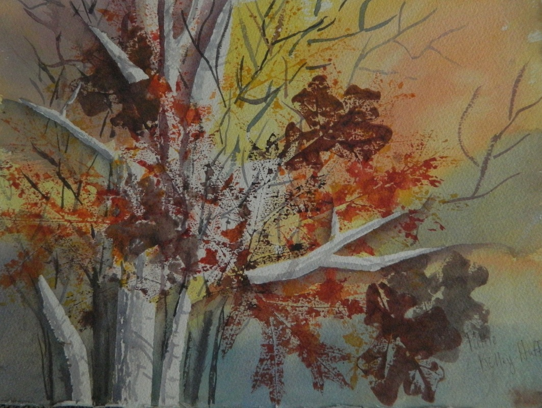 autumn birch trees sunset palette