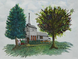 Winthrop Harbor United Methodist Church (For Display only - No sale) - Pen and Ink Watercolor