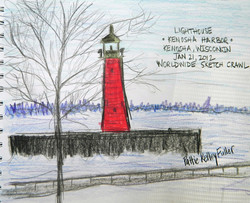 Kenosha Harbor Light House - Graphite