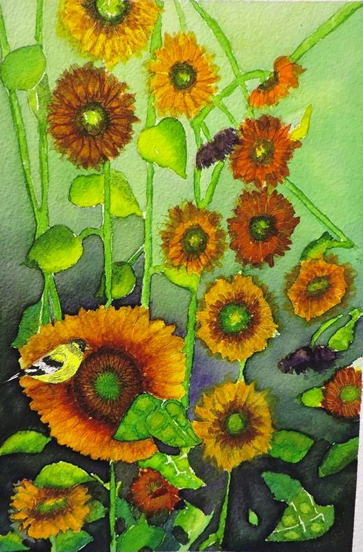 sunflowers with birds