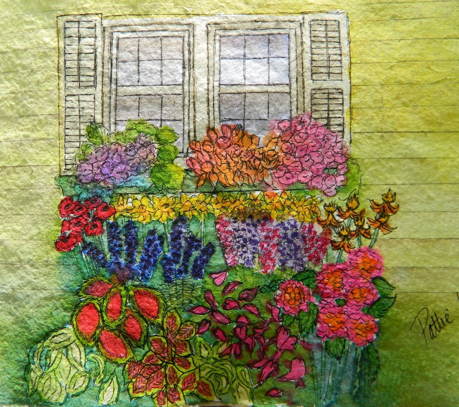 Flower Bed - Pen and Ink Watercolor