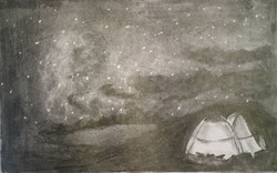 Starry Night Camping - graphite