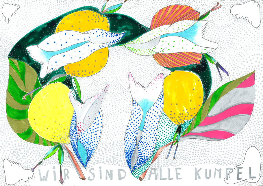 WIE ALLE SIND KUMPEL, paper, fineliner, polychromos 21x29.7cm © Natalija Ribovic 2019