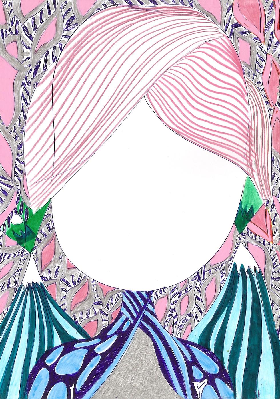 SPIEGEL, alu dibond, photo paper, porcelain pen, marker, fineliner, 14.8cmx21cm © Natalija Ribovic 2019