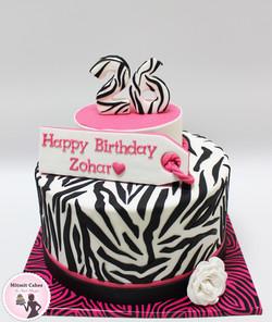 עוגה בעיצוב זברה