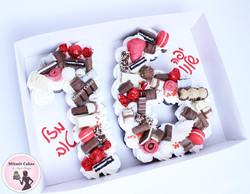עוגת מספרים אדום לבן