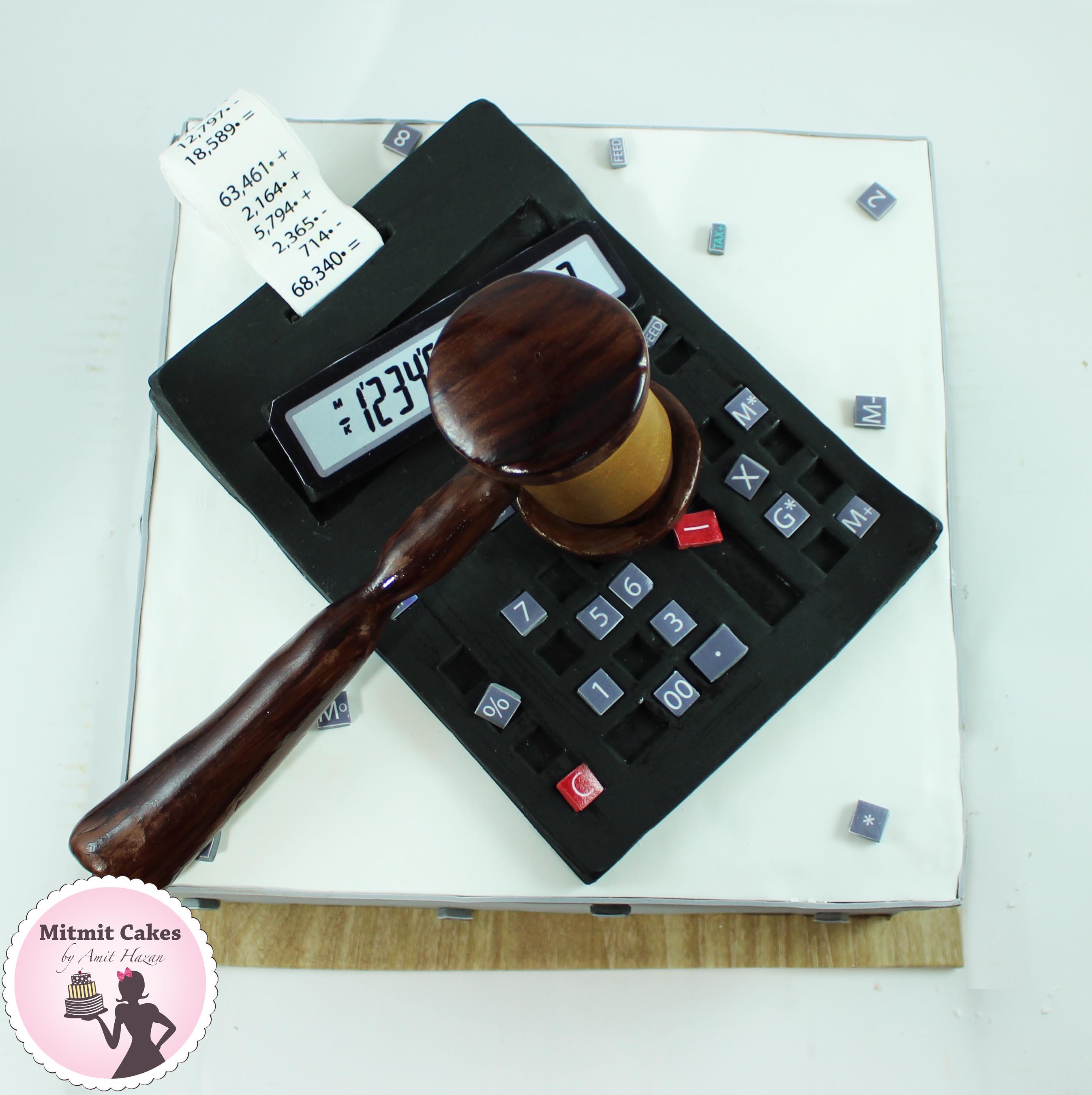 עוגה פטיש שופטים עם מחשבון