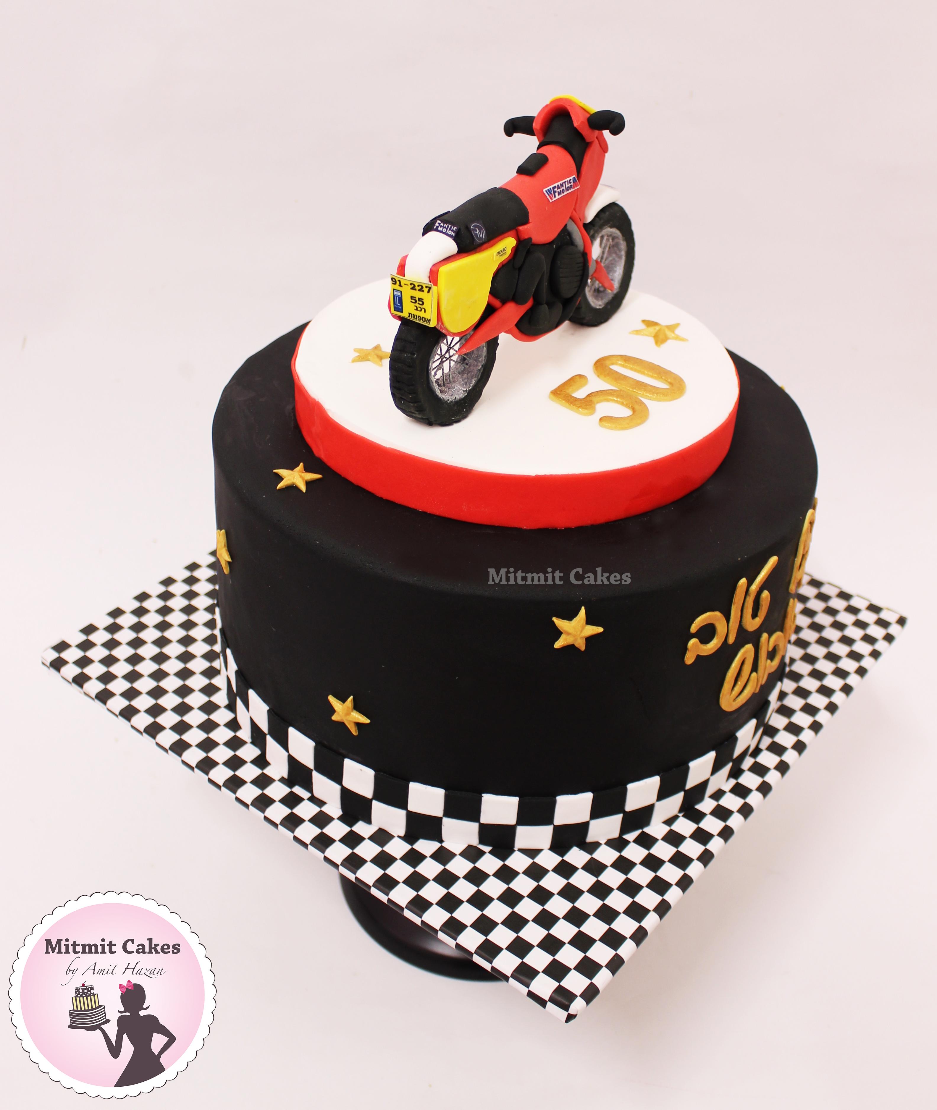 עוגה פיסול אופנוע