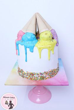 עוגת גלידה צבעונית