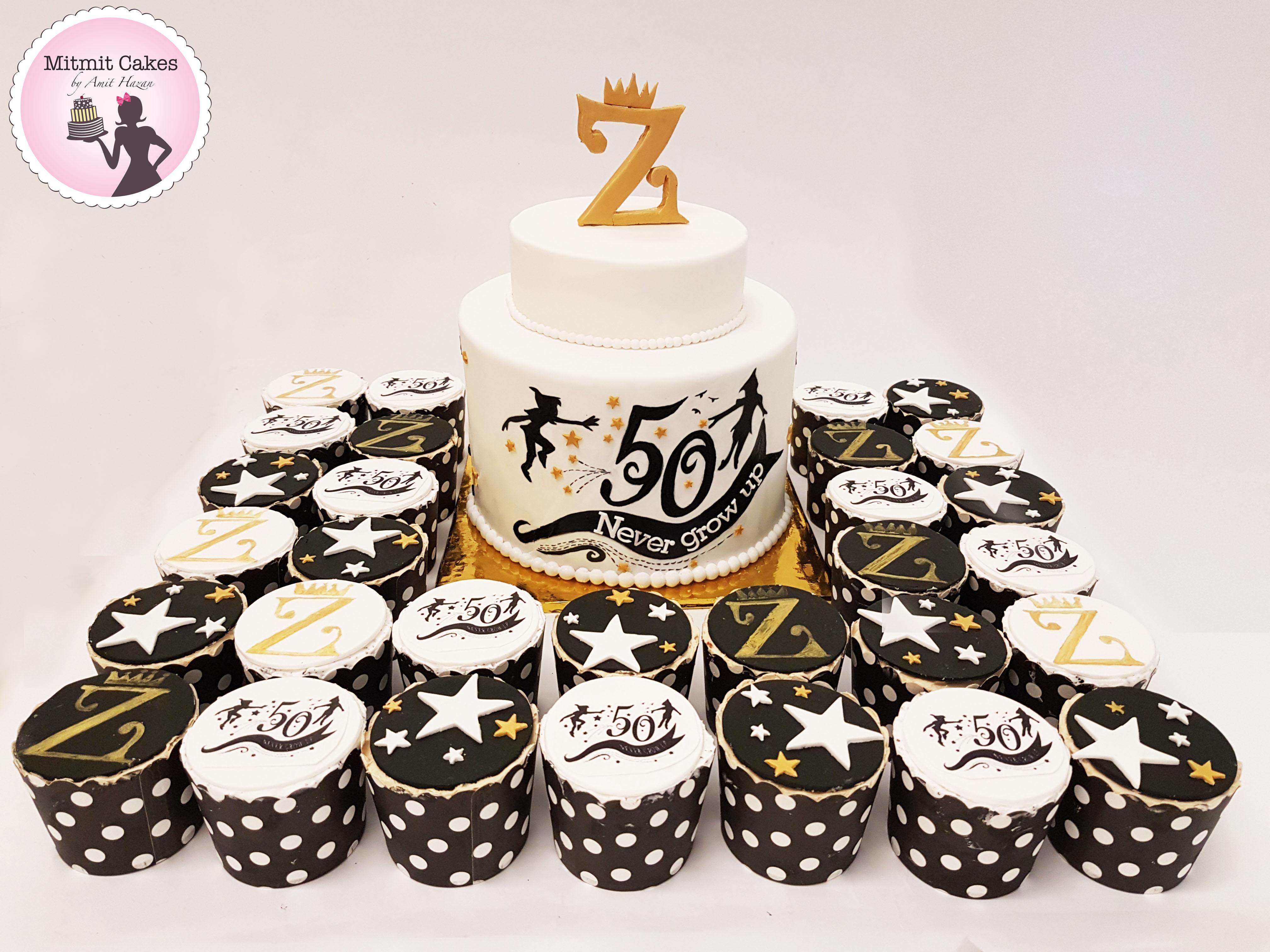 עוגה וקאפקייקס ממותגים לחגיגות 50