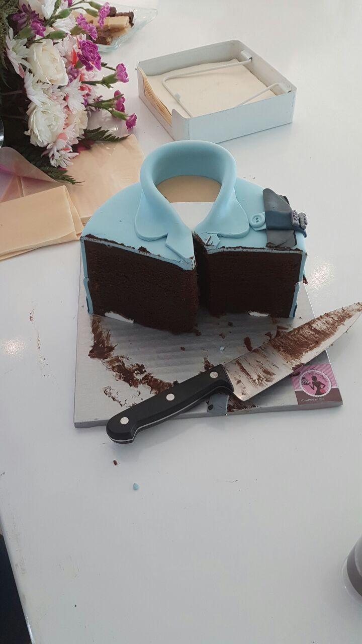 עוגת מדים חתוכה- עוגת שוקולד םעם 3 ש