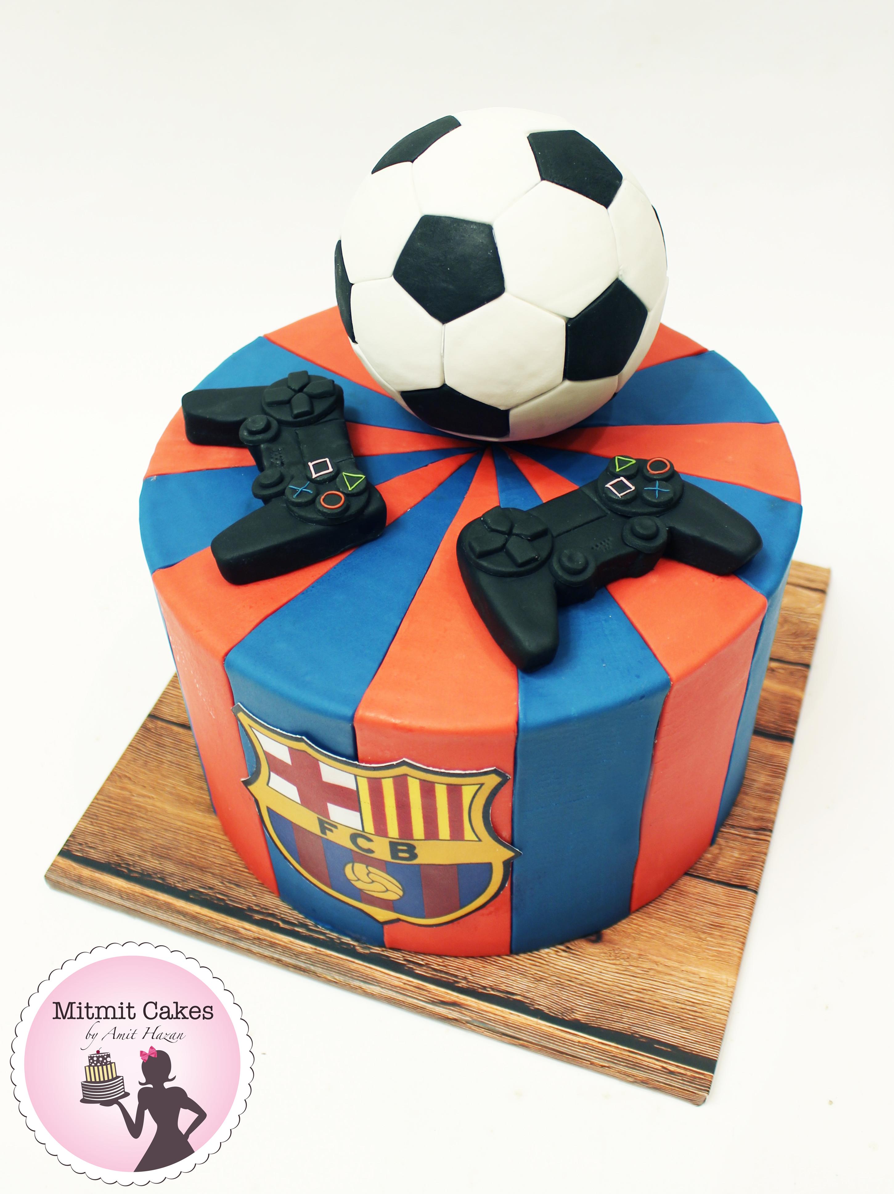 עוגת כדורגל-ברצלונה