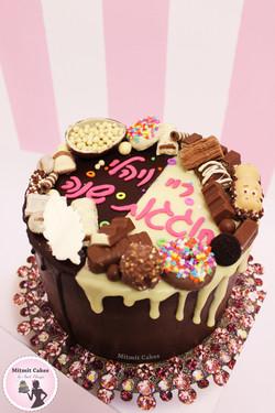 עוגת שוקולד צבעונית