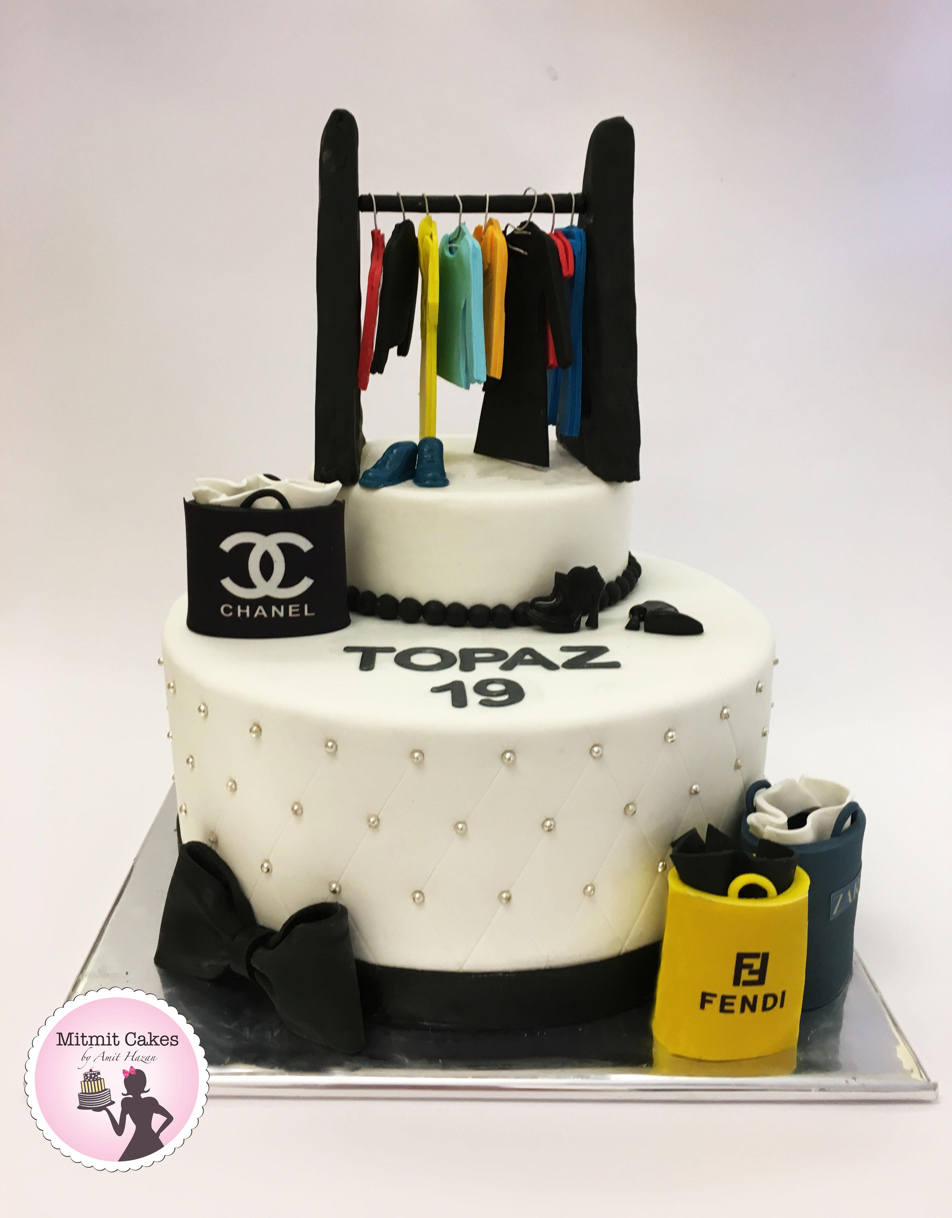 עוגת ארון בגדים לטופז ושקיות שופינג