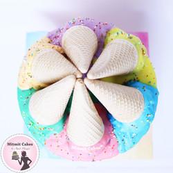 עוגה צבעונית גלידה