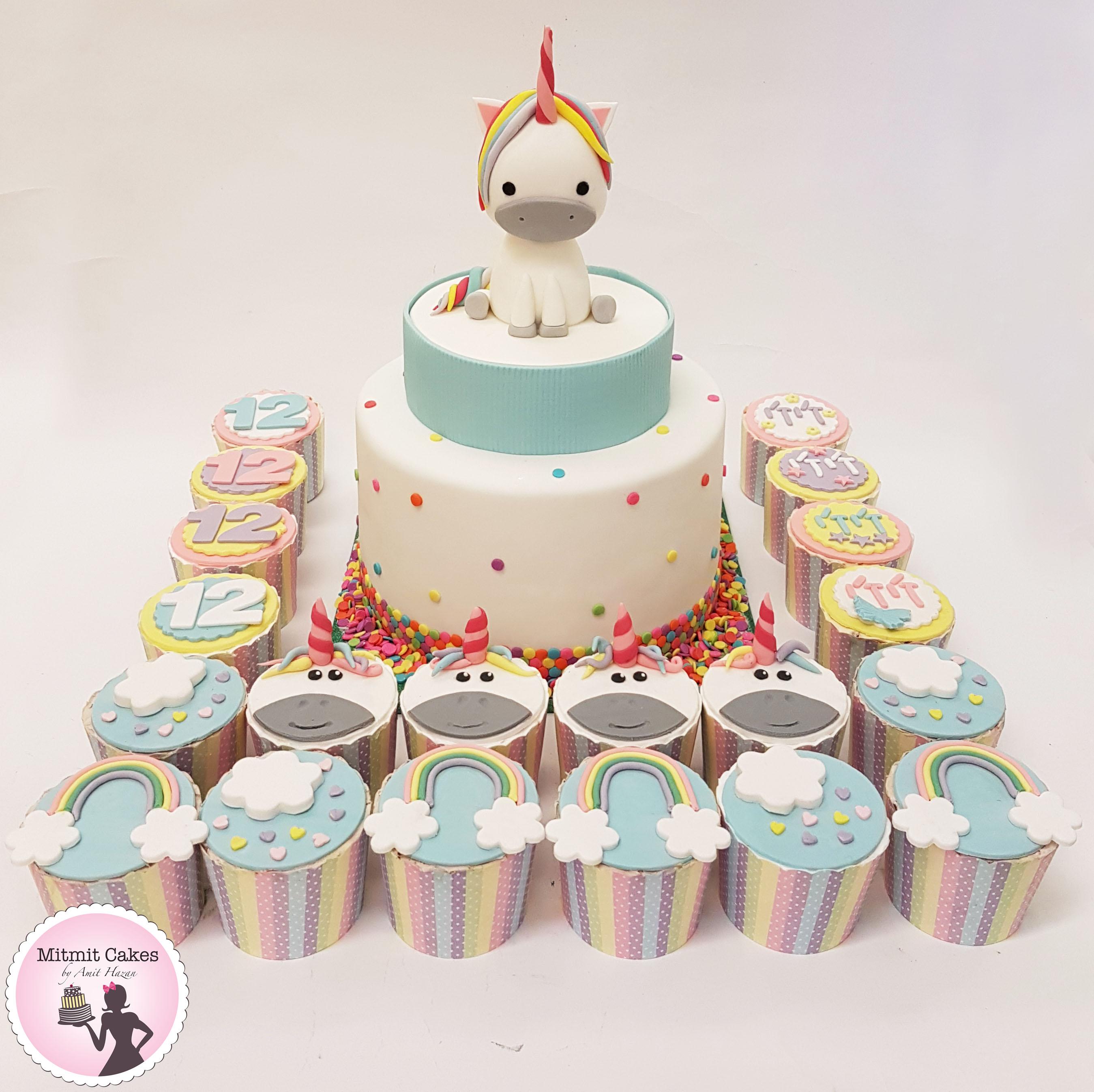 עוגה וקאפקייקס חד קרן