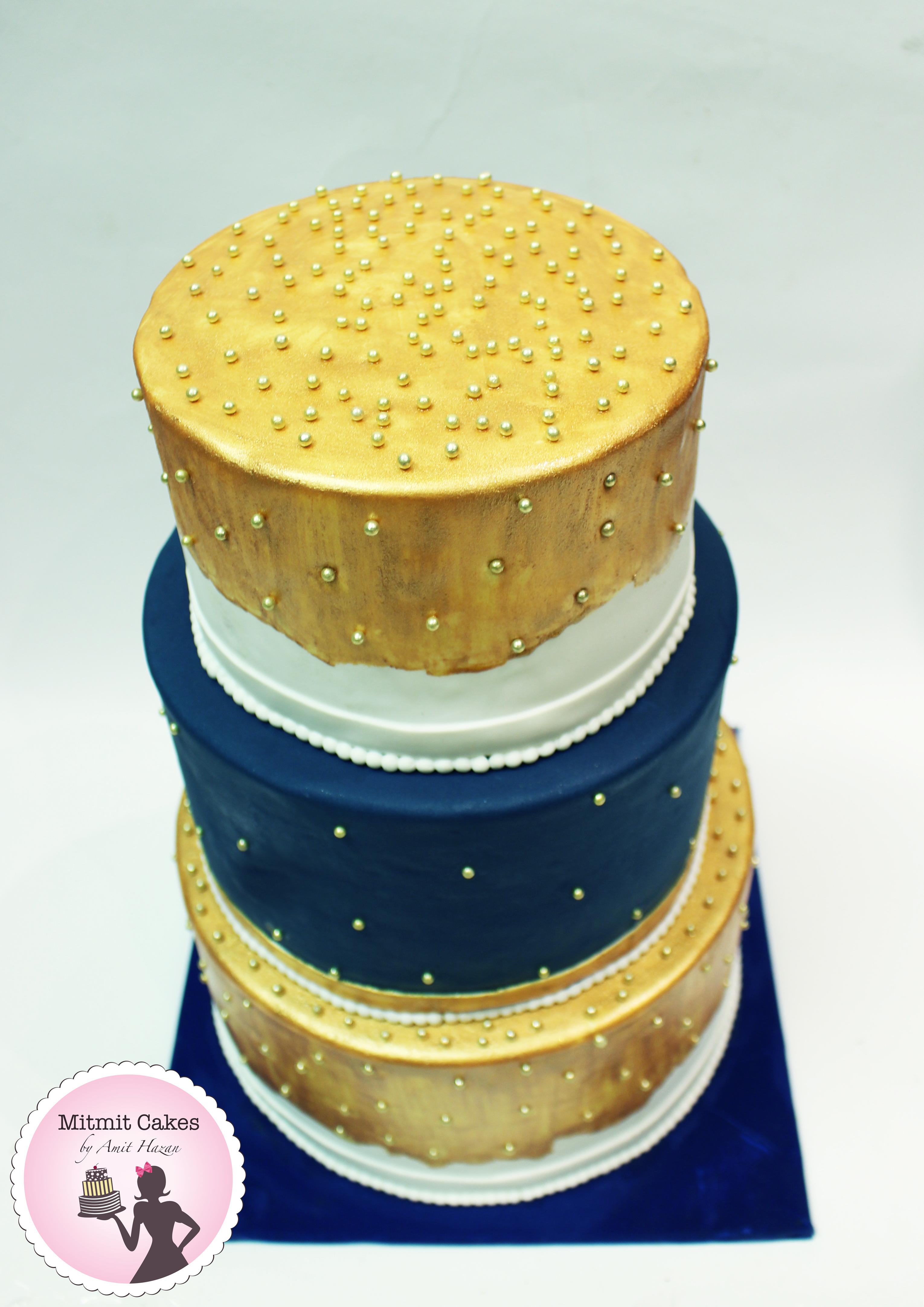 עוגת חתונה עם פנינים