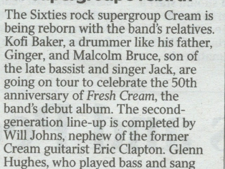 Paragraph in The Times newspaper today about upcoming Australia / New Zealand Tour