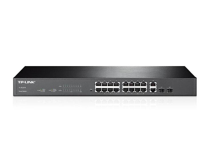 TP Link 16-Port 10/100Mbps + 2-Port Gigabit Smart Switch - TL-SL2218