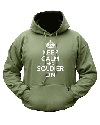 Keep Calm & Soldier On HOODIE - Olive Green
