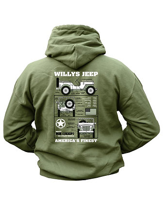 Willys Jeep HOODIE - Olive Green (New Design)