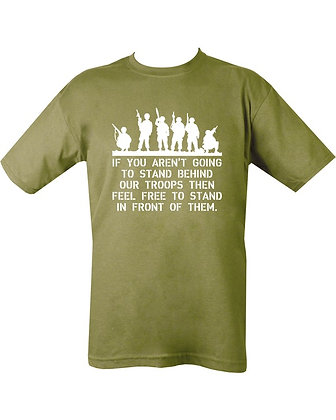 Behind Troops T-shirt - Olive Green
