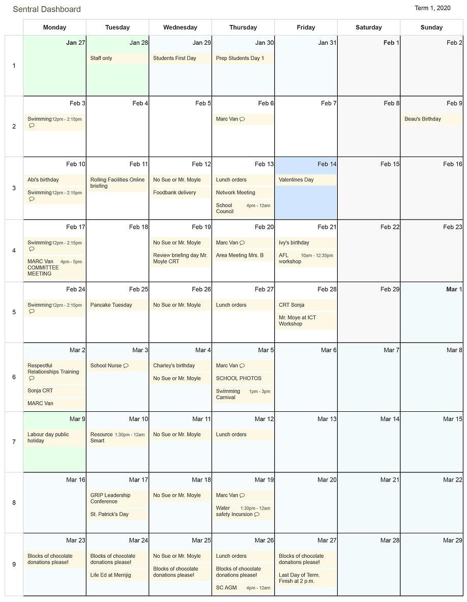 Sentral Dashboard - Term View - Calendar